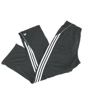 Adidas Three Stripe Track Pants Sz L Black Zip Leg